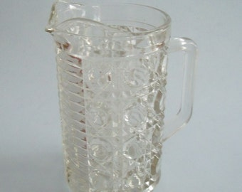 Vintage Collectible Heavy Cut Glass Pitcher 6 in. high