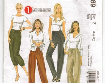 McCalls Easy Pattern 5889 for 1 Hour Pull On Pants Plus Sizes 16-18-20-22