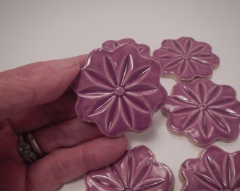 Purple Flower Mosaic Tiles-Mosaic Flower Tiles- 2 dollars each