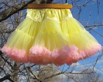 Pink and Yellow Pettiskirt, REVERSIBLE PETTISKIRT! Girls Size 3 to 6