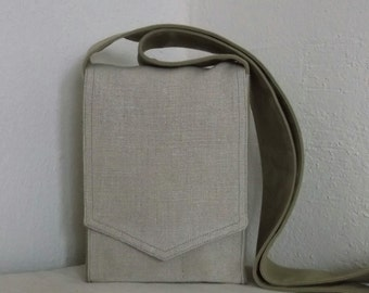 Natural Linen Mini Messenger Bag