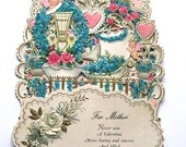 SALE 20% OFF NON-Linens Vintage Valentine's Day Card Hallmark Fold Out For Mother Cupids Hearts