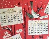 QUILTED Vintage Towel Tammis Keefe 1960 Wall Calendar Squirrel Bird Tree Four Seasons