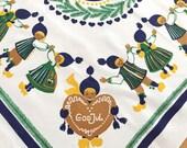 Vintage SWEDISH Christmas Tablecloth God Jul Children Elves Folk Dance