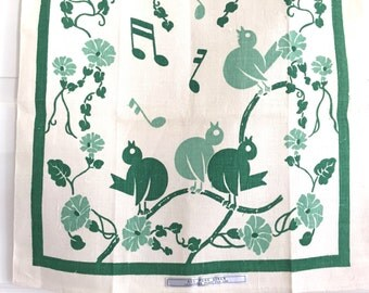 Vintage Song Birds Tea Towel Jadeite Green Linen Towel MWT Mint With Tag
