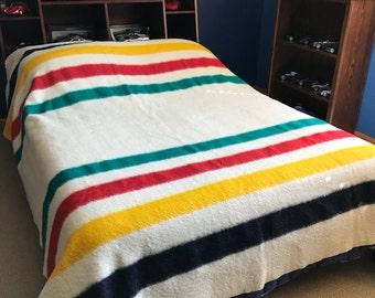 Vintage Blanket Hudson's Bay Point England Wool 4 Point Stripes Bedding Camper Cabin