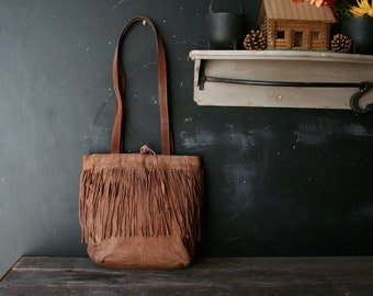 Vintage Leather Crossbody Purse With Fringe Bohemian Fashion Tan Color Gift Idea Vintage From Nowvintage on Etsy