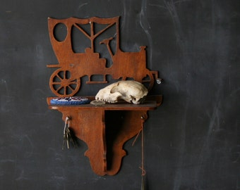 Vintage Shelf Old Ford Wood Folk Art Silhoutte Key Hanger Coin Shelf Vintage From Nowvintage on Etsy