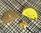 Taco Lover Pin - Lapel Pin - Cloisonné Enamel Pin - Shiny Gold Metal - Gift for Taco Lover - EP2070