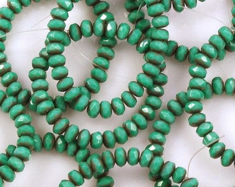 Green Turquoise 3x5mm Donut Rondelles Copper Picasso Endcaps Czech Glass Beads - 30