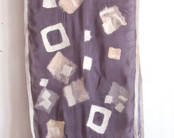 Nuno Felted scarf. Silk chiffon scarf handmade/ Geometric scarf/ Felted scarves/ Women accessories/ Long abstract scarf/ Transitional shawl