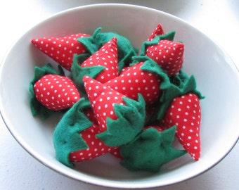 14 handmade strawberries - pincushion, craft supply, ornaments, vintage
