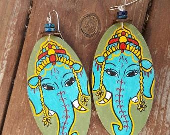 Ganesha Sol Hand Painted Earrings