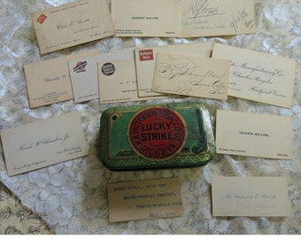 Vintage Railroad Memorabilia - 45 Hand Written Business Cards, Lucky Strike Tobacco Co