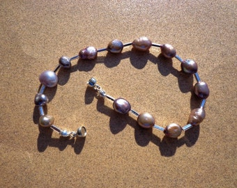 Mauve Freshwater Pearls Bracelet with Silver Tone Tube Beads, Magnetic Clasp, 7.5 Inches, Pearl Bracelet, Organic Gemstone, Prosperity Stone