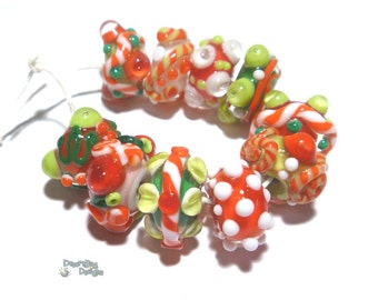 HOLLY JOLLY Handmade Lampwork Bead Set - MIx of Red White Green Holiday Christmas Colors