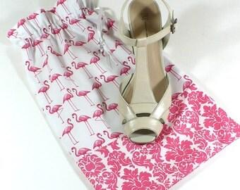 Shoe Bags, Pink and White, Travel, Shoe Storage, Flamingos, Damask, Drawstring, Cotton storage bags