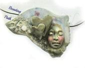 ceramic bead - pottery bead, handmade clay bead - Focal bead, face bead - OOAK bead -     # 172