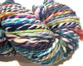 HALF OFF SALE Handspun Yarn Waste Not Want Not E 174 yards rainbow yarn knitting supplies crochet supplies waldorf doll hair
