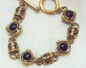 Berebi Vintage Exotic Black Onyx, Red Rhinestone Bracelet with Toggle Clasp