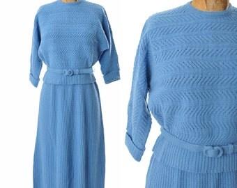 1950s knit suit / Bermuda Original blue suit / 50s suit