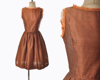 vintage 50s dress / tangerine fringe dress / Lanz 1950s dress .. xs