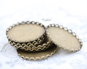 Antique Brass 28mm Lace Edge Round Settings - 4