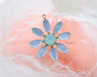 Frosted Blue & Pacific Green Opal Daisy Flower Pendant Earring Dangle Swarovski Crystal Vintage Stones Brass Setting 30mm .
