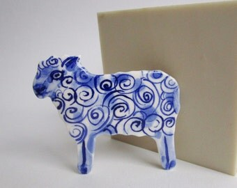 Sheep - handpainted porcelain brooch