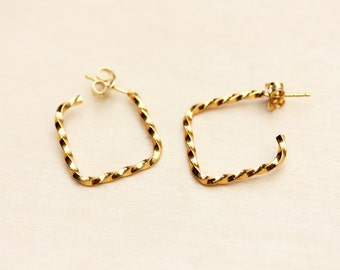 Square Twist Hoop Earrings - Gold or Silver Plated