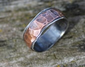 "Hammered Mens Wedding Ring Item #100102 - ""Rugged Band"""
