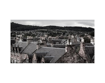 Rooftops of Inverness Fine Art Photography Urban Landscape cityscape slate roof chimney pots Scotland city Scottish town Gray stone home art