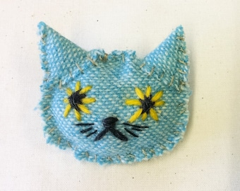 cat textile brooch - blue messy kitty