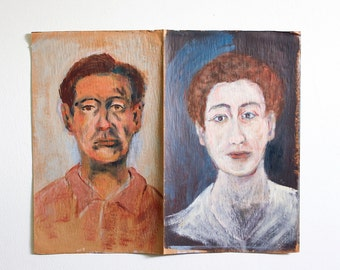 Vintage Portrait Paintings / Outsider Art / 24 x 20 / Original Mixed Media on Found Paper / Double Sided