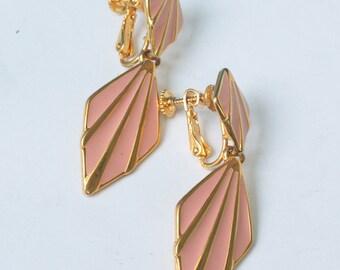 Pink Enameled Napier Earrings Dangle Adjustable Clip Back Vintage
