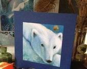 A Greeting Card titled 'Polar Bear'. Illustrations and paintings by Amanda Clark. Polar Bear illustration. Ice Bear. Winter scene.