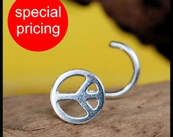 Peace Sign Nose Stud / Hippy Jewelry / 22G / 20G / 18G  Nose Ring /  Unique Nose Jewelry / Rock Your Nose- Customize