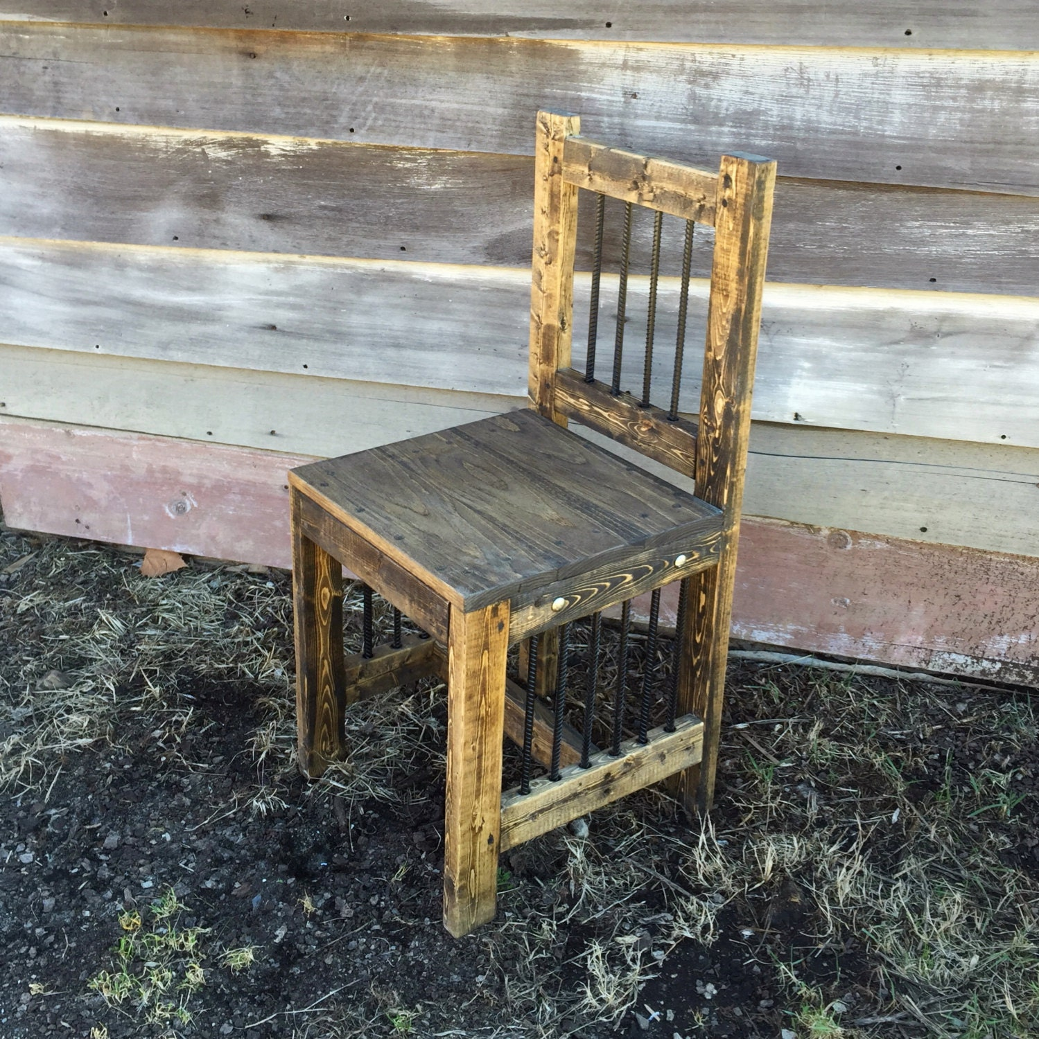 rustic industrial furniture reclamed wood chair dining