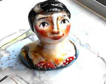 Original art clay mini sculpture Clara lady OOAK by miliaart studio