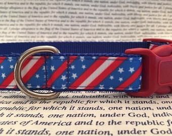 Patriotic Dog Collar with Stars and Stripes In M - L - XL Choice of Webbing and Buckle