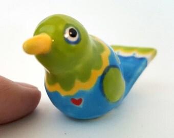 Little Clay Bird Whimsical Bird Blue and Green Bird Miniature bird Bird Sculpture Ceramic birds Tiny Bird