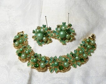 Vintage Coro Bracelet Earrings Set Green Rhinestones Pearls Enamel Gold Metal 3 piece 50s Flower