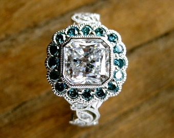 Radiant Cut Diamond Engagement Ring in Platinum with Teal Blue Diamonds in Flowers & Leafs on Vine Setting Size 5