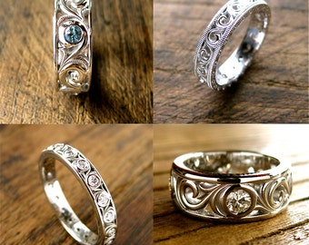 Order Your Custom Made Wedding or Anniversary Ring with Scrolls Here