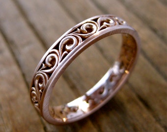 Unisex Spiral Scroll Wedding Ring in 14K Rose Gold with Cool Matte Finish Size 10