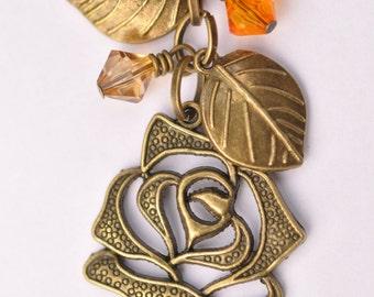 Bronze Rose Keychain keyring with Orange Beads