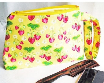 SALE 30% OFF - Cosmetics Bag Knitting Notions Zipper Pouch Summer Strawberries on Sunshine Yellow Larger Size