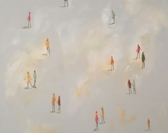 "Original Painting , 20 x 20, Folk art, modern, minimalistic, ""Free Play"""