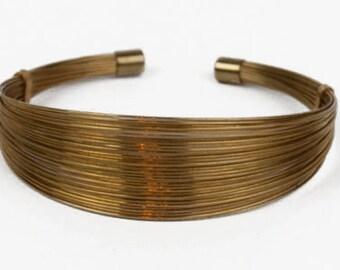 1960s Yellow Gold Tone Multi Strand Wire Sleek Designer Inspired Vintage Cuff Bracelet