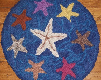 Family of Starfish Complete Primitive Rug Hooking Kit or Pattern Only